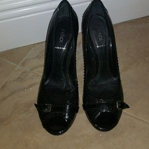 Fendi Black Open Toe Shoes