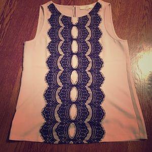 LOFT blush and black lace blouse