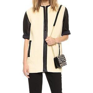 Lambskin leather contrast jacket