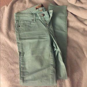 Paige denim mint green skinny jeans