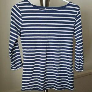 Zara Blue and White Breton Striped Shirt