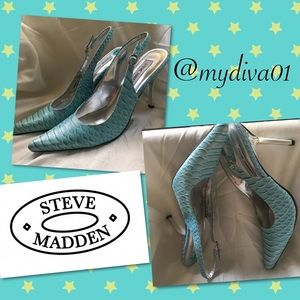 Stylish Steve Madden Turquoise Leather Heels 7.5B
