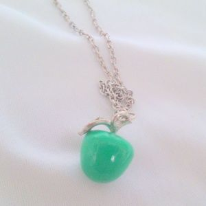 Green Apple Silver Rhinestone Vintage Necklace