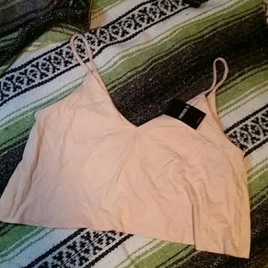 NWT Forever 21 Pink Suede Crop Top