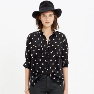 Madewell silk spotlight shirt in hearts and dots