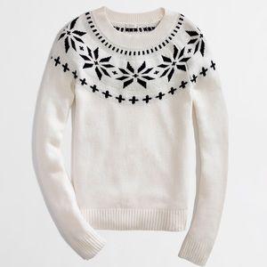 J.Crew Intarsia Fair Isle Black White Soft Sweater