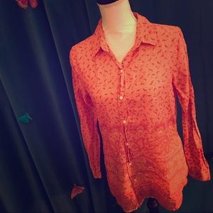 OLD NAVY Coral Orange Paisley Floral Button Down M