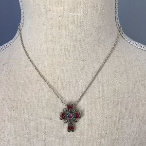 Red Gem Cross Charm on Silver Toned Chain Necklace