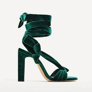 Velvet lace-up high heel sandals