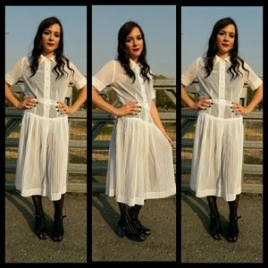 Gorgeous! Vintage sheer white drop waist dress!