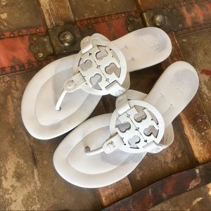 Tory Burch Miller 2 II Sandals White 9 EUC metal