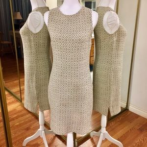St. John Collection Beige Drk Brown Pattern Dress