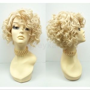 Blonde lace front heat safe short curly wig