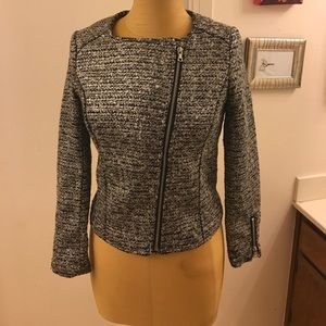 H&M tweed Polyester Motorcycle style Blazer jacket