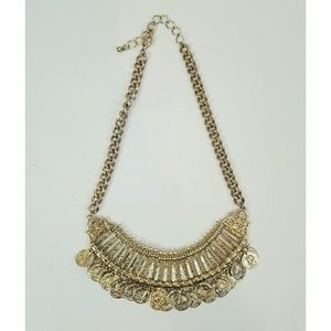 Gold coin necklace statement piece golden jewelry