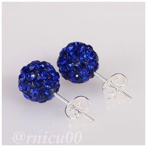 🆕10mm Sapphire Blue Crystal Disco Ball Earrings!