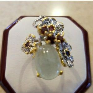Genuine Natural Aquamarine Designer Ring Size 8
