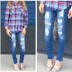 Denim - Distressed denim stretchy skinny jeans size 11