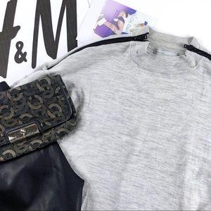 H&M Gray Merino Wool Black Zipper Mock Neck Top