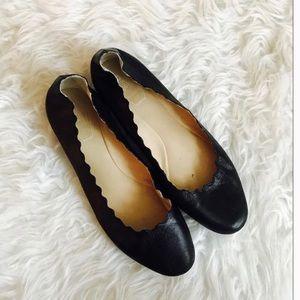 Chloe Lauren Scalloped Leather Flat