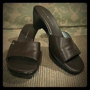 Tommy Hilfiger leather heel slides in brown