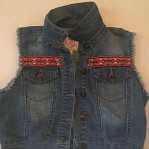 Girls Denim vest with Embroidered Trim Size 12