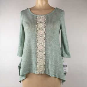 Knit works green ribbed crochet criss cross top