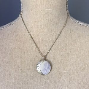 Two-Sided Marble Moon Charm on Silver Chain