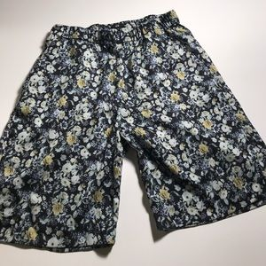 Black and Yellow White Lotus Florals Print Shorts