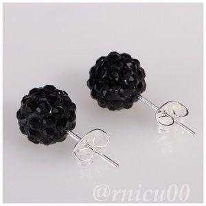 🆕Black Crystal 10mm Disco Ball Stud Earrings!