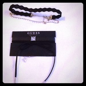 Guess inc choker necklace leather bow rose gold