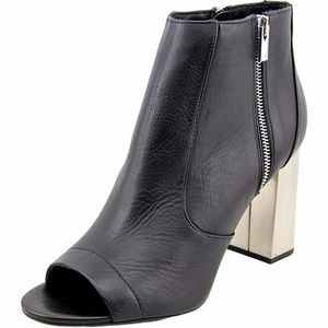 Vince Faber Peep-Toe Leather Ankle Boot