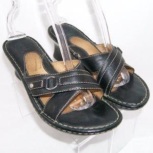 Born black leather cross strap slip on mid wedge 9