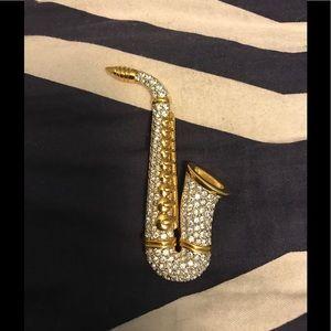 Women's Swarovski pin saxophone rare