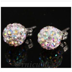 🆕AB Crystal 10mm Crystal Disco Ball Stud Earrings