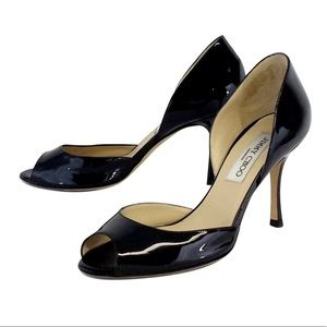 Jimmy Choo Black Patent Leather D'orsay Peep Toe