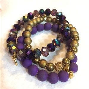 Erimish purple gold set of three bracelet stack