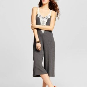 NWOT Ribbed Grey Lace Jumpsuit