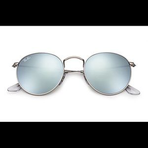 Ray Ban Round Flash Lens Sunglasses in Silver