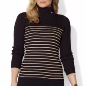 {LRL} Striped Gold Metallic Turtle neck Sweater
