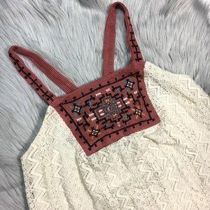 Aztec print knit boho festival strappy tank top S