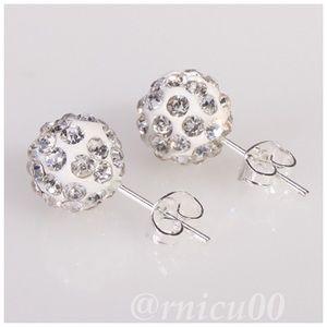 🆕10mm Silver Crystal Disco Ball Stud Earrings!