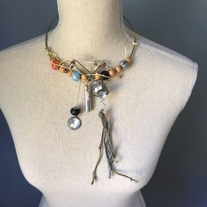 Steampunk Bead Pin & Charm Collar Necklace