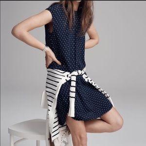 Madewell XS Navy Blue Polka Dot Shift Dress