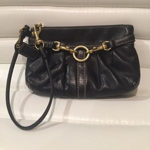 COACH wristlet - beautiful black leather and gold