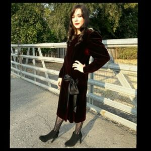 🍁Trend! Vintage burgandy velvet 80's dress/coat