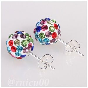🆕10mm Colorful Crystal Disco Ball Stud Earrings!