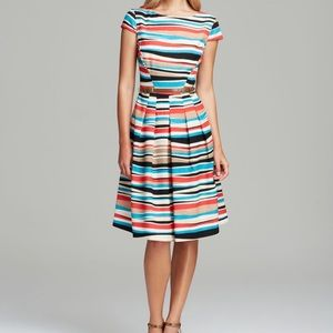 Anne Klein Multicolor Textured Belted Dress