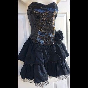 Betsey Johnson Black Sequin Ruffled Party Dress 6