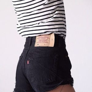 Vintage High-Waisted Black Levi's Cutoff Shorts
